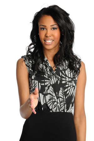 African American businesswoman extending hand isolated over white background photo
