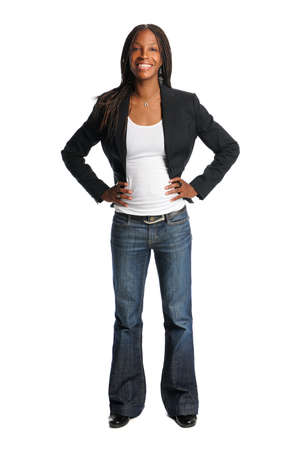 african background: Portrait of beautiful African American woman with hands oh hips isolated over white background