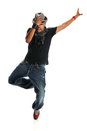 African american hip hop dancer performing holding hat isolated over white background
