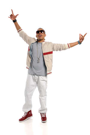 black rapper: African american hip hop dancer performing isolated over white background Stock Photo
