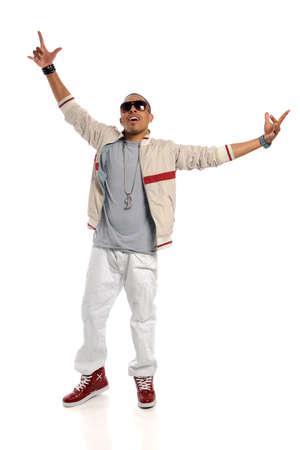 bailarin hombre: Africano americano hip hop bailarina realizando aislado sobre fondo blanco Foto de archivo