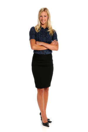 woman standing: Portrait of beautiful businesswoman isolated over white background