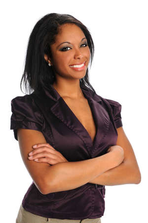Portrait of beautiful African American businesswoman smiling isolated over white background 스톡 콘텐츠