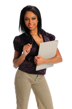 Beautiful African american woman holding glasses and folder isolated over white background Stock Photo - 15261490