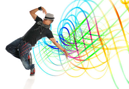 body painting: Hip hop dancer performing with light painting isolated over white background