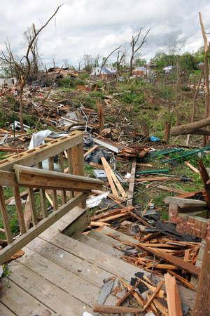 ravaged: SAINT LOUIS, MO - APRIL 22: Destruction left behind by tornadoes that ravaged the area. April 22, 2011 in Saint Louis, Missouri