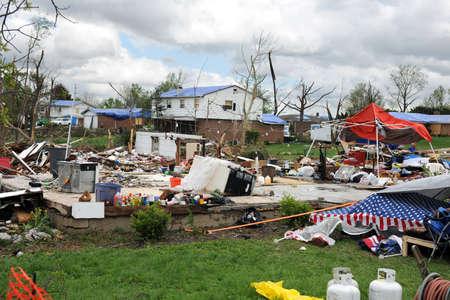 ravaged: SAINT LOUIS, MO - APRIL 22:Destruction left behind by tornadoes that ravaged the area. April 22, 2011 in Saint Louis, Missouri