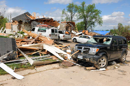ravaged: SAINT LOUIS, MO - APRIL 22: Destroyed homes left behind by tornadoes that ravaged the area. April 22, 2011 in Saint Louis, Missouri  Editorial