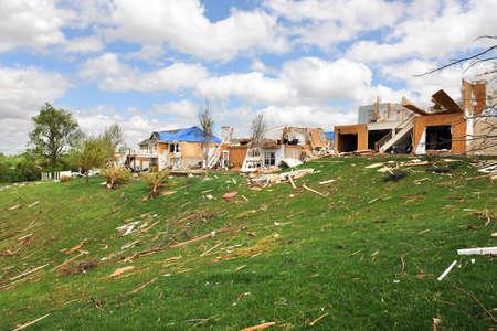 fema: SAINT LOUIS, MO - APRIL 22: Destruction left behind by tornadoes that ravaged the area. April 22, 2011 in Saint Louis, Missouri