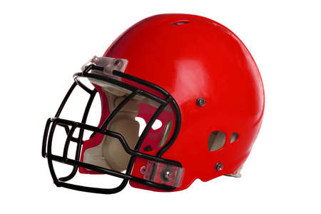 red competition: Red football helmet isolated over white background - With Clipping Path Stock Photo