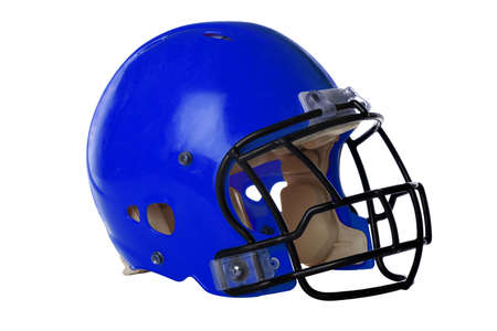Blue football helmet isolated over white background - With Clipping Path Stock Photo - 15323998