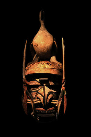 painted face mask: Malagan ceremonial mask from New Ireland Island Stock Photo