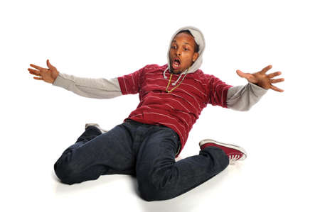 African american hip hop dancer performing isolated over white background Stock Photo