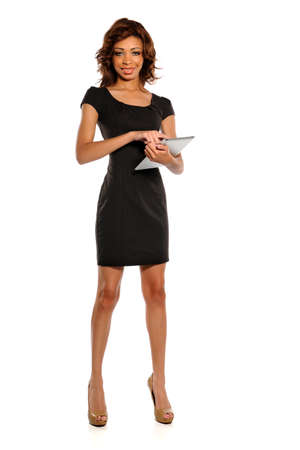 African American businesswoman holding electronic pad isolated over white background Stock Photo - 15513816