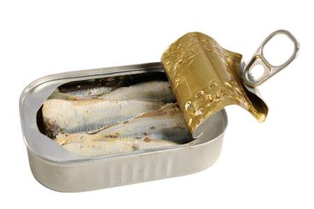 sardinas: Abrir la lata de sardinas aisladas sobre fondo blanco - con el camino de recortes
