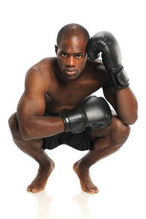 African American fighter with fighting gloves isolated over white background photo