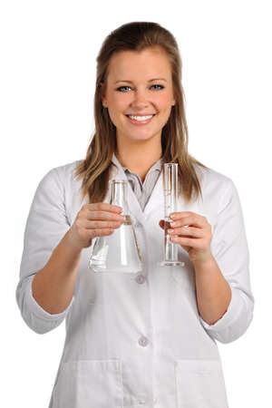 Portrait of beautiful lab worker holding glassware isolated over white background Stock Photo - 15398859