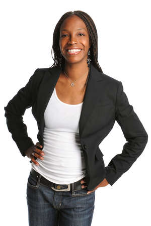 african business: Portrait of young African American woman isolated over white background Stock Photo