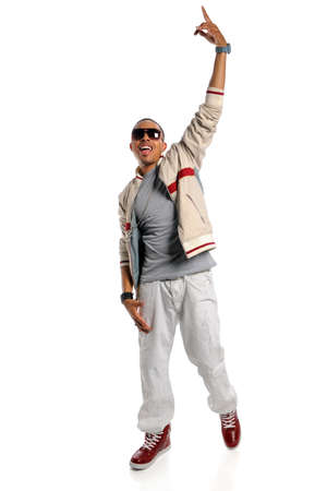 cool guy: Portrait of African American hip hop dancer isolated over white background