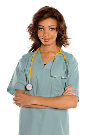 Portrait of African American doctor or nurse with arms crossed isolated over white background photo