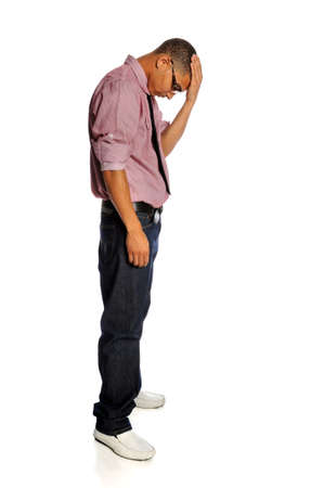 Portrait of stressed African American man standing with hand on head isolated over white background