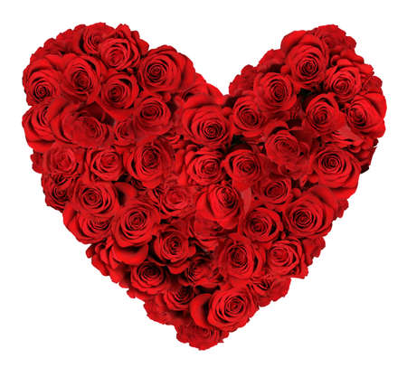HEart shaped bouquet of red roses isolated over white background photo