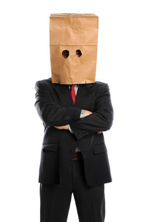 paper bag: Portrait of businessman with paper bag over head isolated over white background Stock Photo