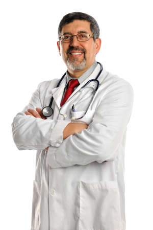 Portrait of Hispanic doctor smiling isolated over white background Stock Photo - 15608800
