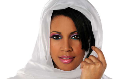 Portrait of beautiful African American woman with veil isolated over white background photo