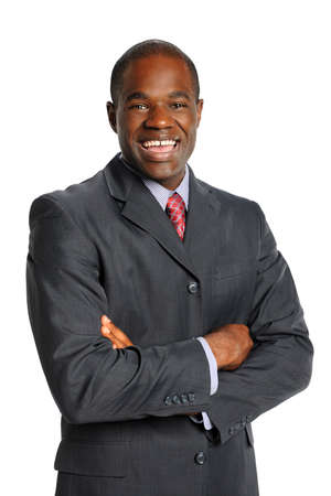 Portrait of African American businessman smiling isolated over white background photo