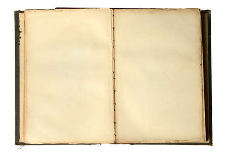 rarity: Open vintage book with blank pages isolated over white background Stock Photo