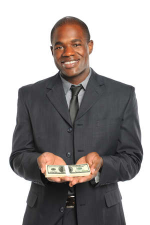 African American businessman holding stack of money isolated over white background photo