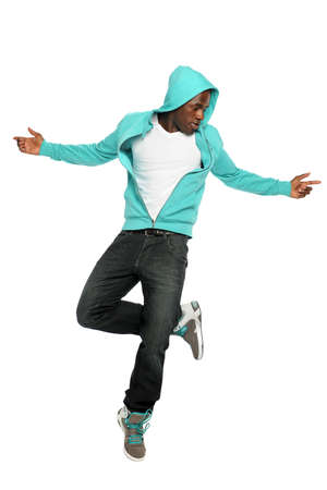 African American hip hop dancer jumping isolated over white background photo