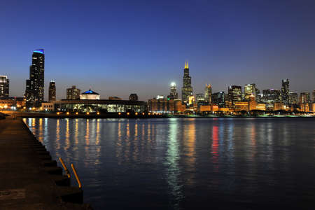 South view of downtown Chicago skyline at dusk