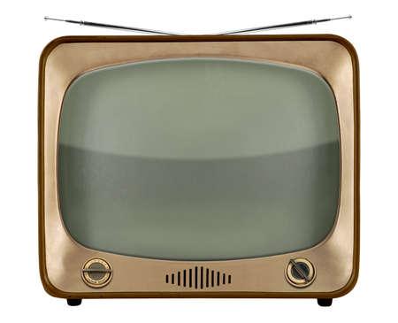 1950 년대에서 빈티지 TV 흰색 배경 위에 절연 스톡 콘텐츠