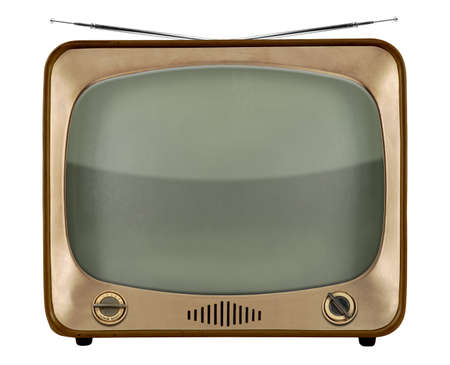 Vintage TV from the 1950s isolated over white background  Standard-Bild