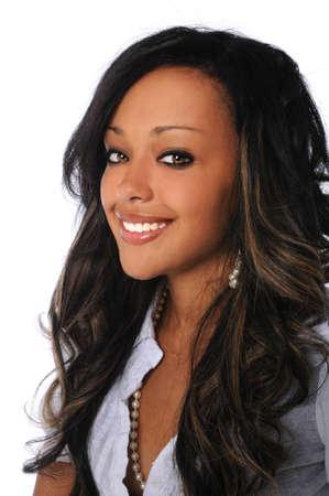 american sexy: Портрет афро-американских красивая женщина улыбается изолированных на белом фоне Фото со стока