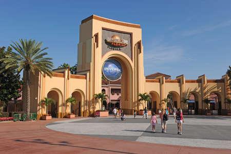 amusment: ORLANDO, FLORIDA - JUNE 04, 2012  Universal Studios theme park entrance logo on building
