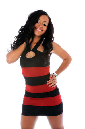 american sexy girl: Portrait of beautiful African American woman in red and black dress isolated over white background Stock Photo