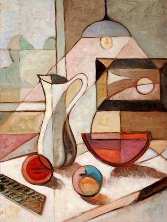 水差しと果物のある静物の抽象的な油絵