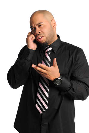 African American businessman using cellphone isolated over white background Stock Photo - 15705636