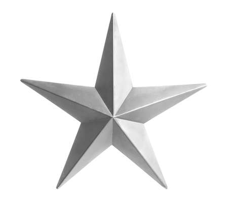 Painted silver star isolated over white background Stock Photo - 15705170