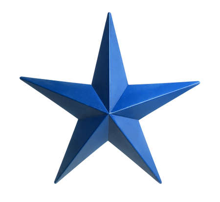 Painted blue star isolated over white background