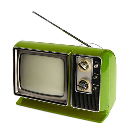 retro tv: Vintage green TV with antenna isolated over white background