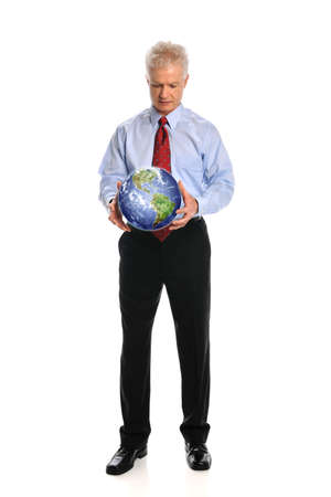 Portrait of senior businessman holding earth isolated over white background photo
