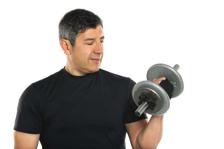 muscular men: Mature Hispanic man curling Dumbbell isolated over white background