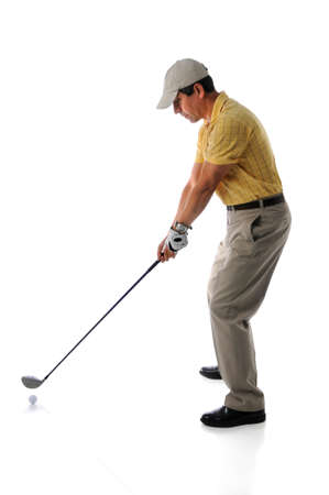 hit man: Mature man playing golf isolated over white background