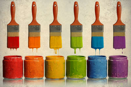 primary colours: Grunge poster with paintbrushes dripping paint of various colors into containers Stock Photo