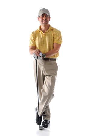 Portrait of mature golfer standing isolated over white background
