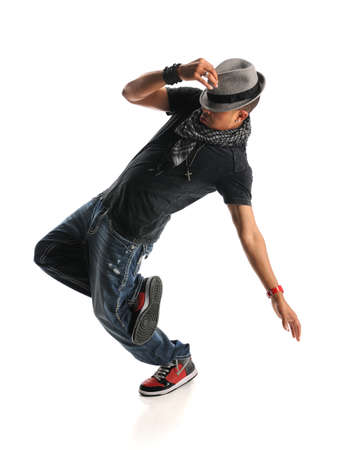 dance pose: African American hip hop dancer isolated over white background